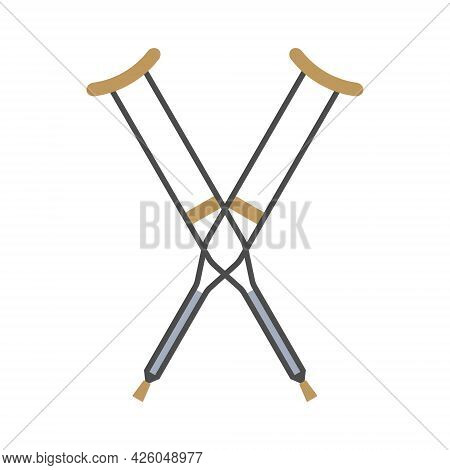 Vector Flat Cartoon Crossed Invalid Crutch Isolated On White Background