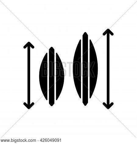 Choosing Surfboard Size Black Glyph Icon. Depending On Surfer Weight And Abilities. Shortboard, Long
