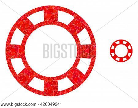 Triangle Casino Chip Polygonal Icon Illustration. Casino Chip Lowpoly Icon Is Filled With Triangles.