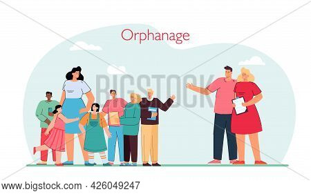Young Married Couple Visiting Orphanage. Husband And Wife Looking At Group Of Children Flat Vector I