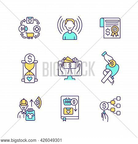 Fundraising Events Rgb Color Icons Set. Online Charity Shop. Donation Platform. Isolated Vector Illu