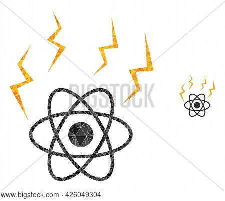 Triangle Atomic Emission Polygonal Icon Illustration. Atomic Emission Lowpoly Icon Is Filled With Tr