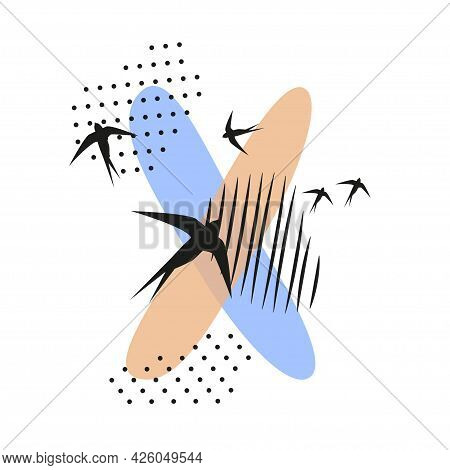 Minimalistic Pattern An Oriental Style In Form Of Letter X. Flock Of Swallows Flies. Abstract Object