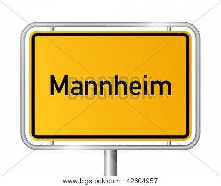 City limit sign Mannheim against white background - signage - Baden Wuerttemberg, Baden W?ѓ??'??rttemberg, Germany poster