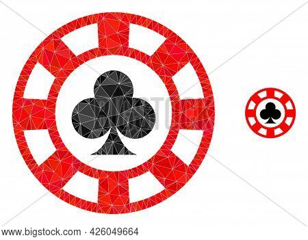 Triangle Clubs Casino Chip Polygonal Icon Illustration. Clubs Casino Chip Lowpoly Icon Is Filled Wit