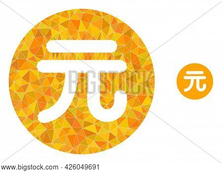 Triangle Chinese Yuan Coin Polygonal Icon Illustration. Chinese Yuan Coin Lowpoly Icon Is Filled Wit