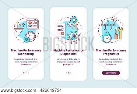 Digital Twin Tasks Onboarding Mobile App Page Screen. Machine Performance Monitoring Walkthrough 3 S