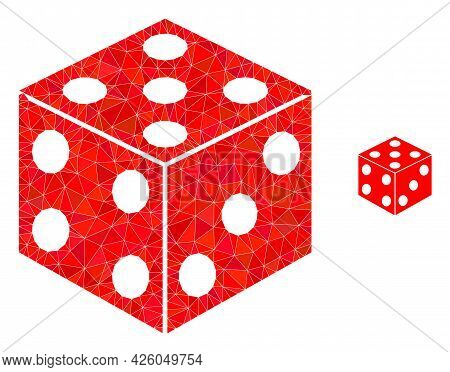 Triangle Dice Cube Polygonal Symbol Illustration. Dice Cube Lowpoly Icon Is Filled With Triangles. F