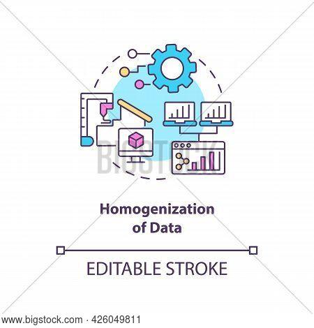 Homogenization Of Data Concept Icon. Digital Twin Characteristics. Modern Computers Automation Abstr