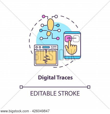 Digital Traces Concept Icon. Digital Twin Characteristics. Products Problems Diagnosing Strategy Abs