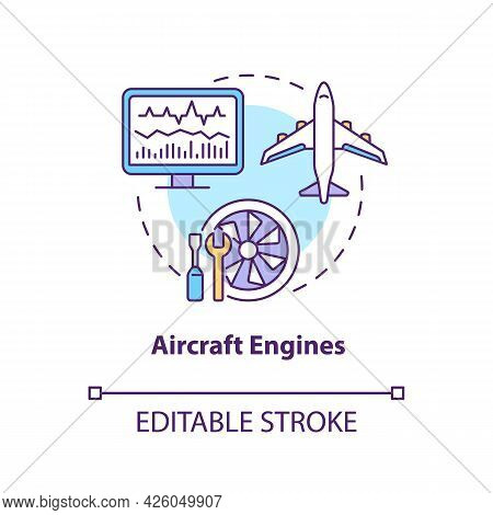 Aircraft Engines Concept Icon. Digital Twin Application By Industry. Modern Transport. Smart Devices