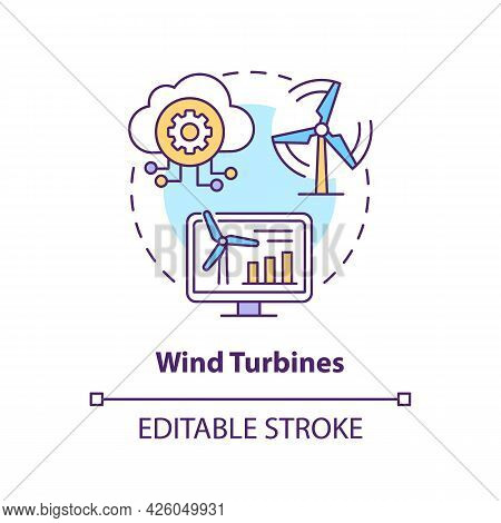 Wind Turbines Concept Icon. Digital Twin Application By Industry. Eco Electricity Source. Energy Gen