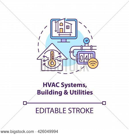 Hvac Systems Buildings And Utilities Concept Icon. Digital Twin Application By Industry. Smart Techn