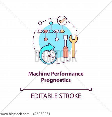 Machine Performance Prognostics Concept Icon. Digital Twin Tasks. Innovative Automation Technologies