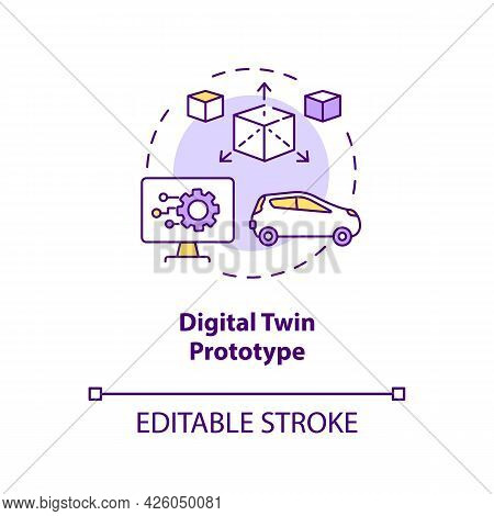 Digital Twin Prototype Concept Icon. Early Example Of Future Product. Modern Smart Technologies Abst