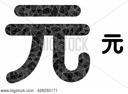 Triangle Chinese Yuan Currency Polygonal Symbol Illustration. Chinese Yuan Currency Lowpoly Icon Is