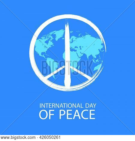 Peace Symbol With A Map Of Planet Earth For The International Day Of Peace, Vector Art Illustration.