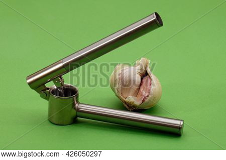 Silver Stainless Steel Metal Manual Crusher For Pressing Garlic Cloves With Spice On The Back