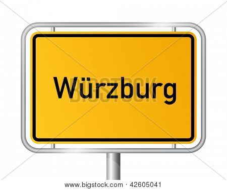City limit sign Wuerzburg against white background - signage W�¼rzburg - Bavaria, Bayern, Germany