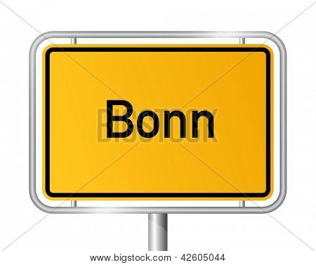 City limit sign Bonn against white background - signage - North Rhine Westphalia, Nordrhein Westfalen, Germany