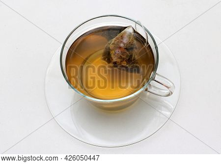 Healthy Green Tea Drink In Glass Cup On White Background