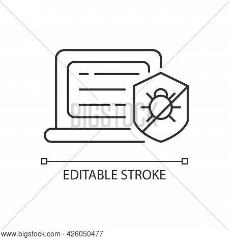 Antivirus Software Linear Icon. Anti-malware. Digital Virus Detection And Removal. Thin Line Customi