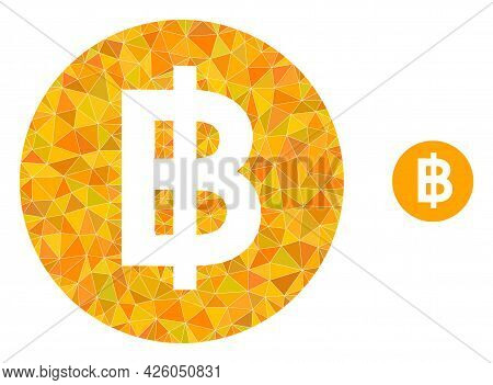 Triangle Bitcoin Coin Polygonal Icon Illustration. Bitcoin Coin Lowpoly Icon Is Filled With Triangle
