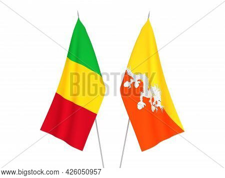 National Fabric Flags Of Mali And Kingdom Of Bhutan Isolated On White Background. 3d Rendering Illus