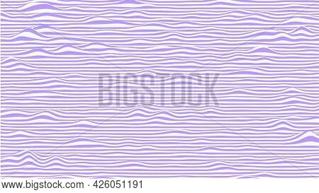 Abstract Waves Background In Violet And White Colors. Striped Surface With Wavy Distortion Effect, V