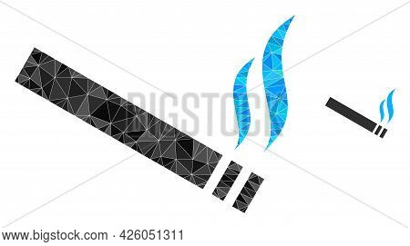 Triangle Cigarette Smoke Polygonal Symbol Illustration. Cigarette Smoke Lowpoly Icon Is Filled With