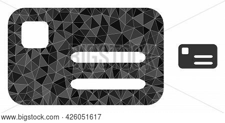 Triangle Banking Card Polygonal Icon Illustration. Banking Card Lowpoly Icon Is Filled With Triangle