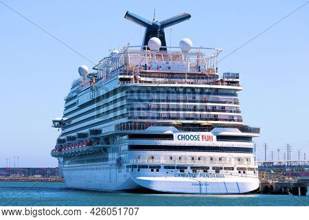 June 6, 2021 In Long Beach, Ca:  Carnival Cruise Ship Docked At The Port In Long Beach, Ca Where Tou