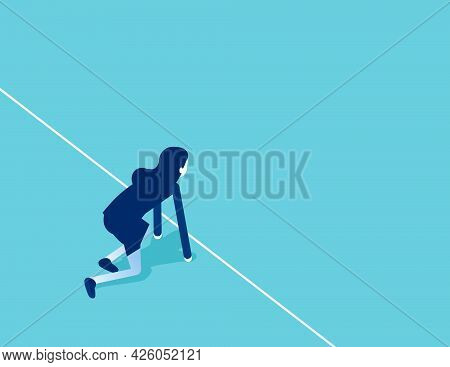 Starting Position And Ready To Start. Flat Isometric Vector Illustration