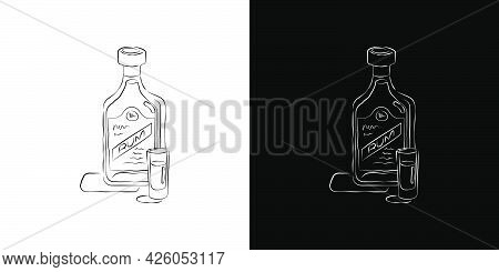 Bottle And Glass Rum Together In Hand Drawn Style. Two Kinds Beverage Outline Images. Restaurant Ill
