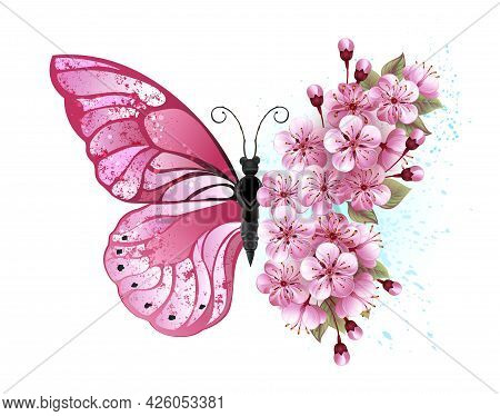 Flower Arrangement Of Pink Butterfly With Pink Japanese Cherry Blossoms On White Background.