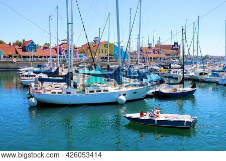 July 6, 2021 In Long Beach, Ca:  Sail Boats, Yachts, And Boat Rentals At Shoreline Village In The Lo