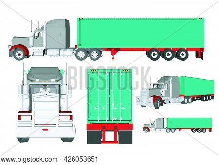 Logistics And Transportation, Lorry Truck Isolated Icons Vector. Cabin And Freight Or Cargo, Shippin