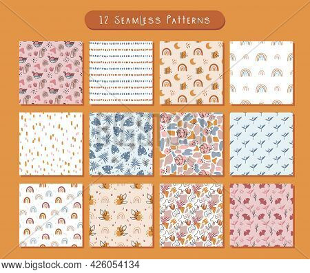 Boho Abstract Seamless Pattern Or Digital Paper Bundle, Simple Geometric And Floral Background In Bo
