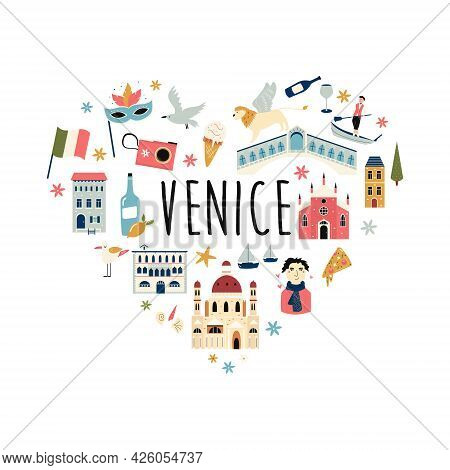 Tourist Abstract Design With Famous Destinations And Landmarks Of Venice.
