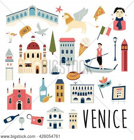 Set Of Famous Symbols And Landmarks Of Venice. Vector Bright Set.