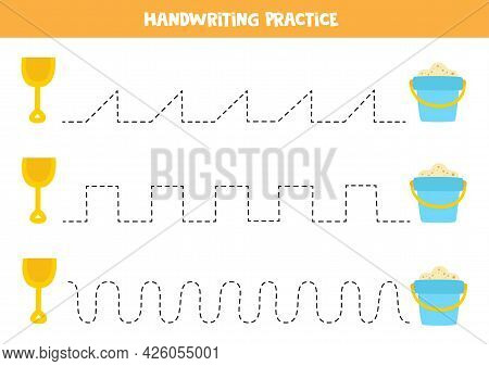 Tracing Lines For Kids With Cartoon Shovel And Pail. Handwriting Practice For Children.
