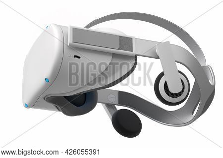 Virtual Reality Glasses Isolated On White Background. 3d Rendering Of Goggles For Virtual Design In