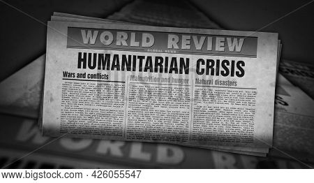 Humanitarian Crisis News, Famine And Hunger Disaster Retro Newspaper Illustration