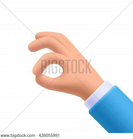 Ok Gesture Hand, Okay Sign. 3d Vector Illustration.