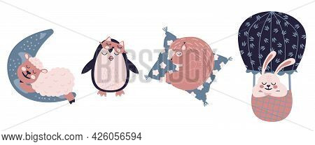 Sweet Dreams Set With Cute Sheep On The Moon, Spuirrel On A Pillow, Penguin In Sleep Mask And Bunny