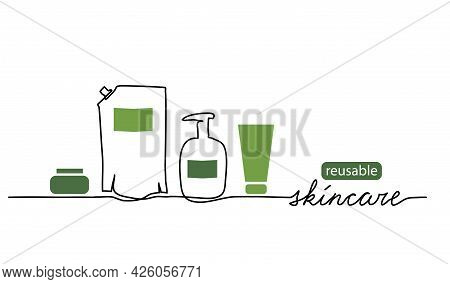 Reusable Skincare, Eco-friendly Skin Care Cosmetics Vector Illustration. One Line Drawing Art With B
