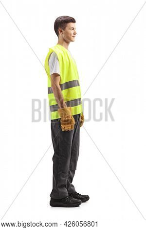 Full length shot of a young waste collector in a uniform and gloves isolated on white background
