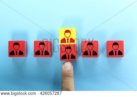 Yellow Cubes Are Exchanged For Red Cubes. The Concept Of Employee Exchange