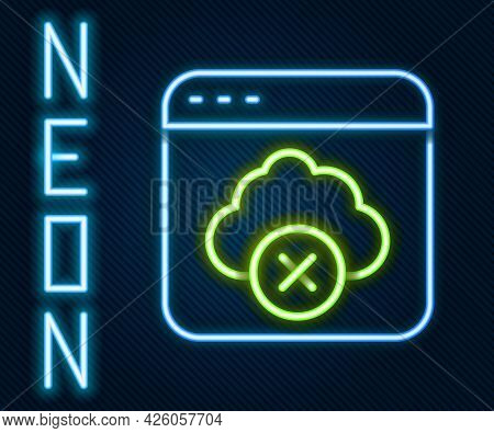 Glowing Neon Line Failed Access Cloud Storage Icon Isolated On Black Background. Cloud Technology Da