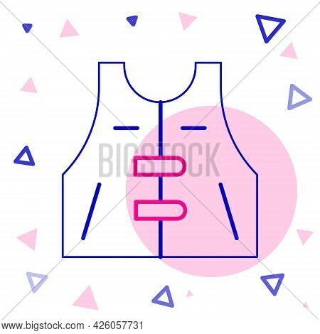 Line Hunting Jacket Icon Isolated On White Background. Hunting Vest. Colorful Outline Concept. Vecto